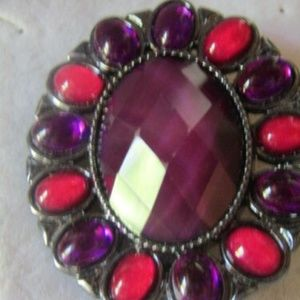 Signed Purple and Pink Gemstone Brooch Pin